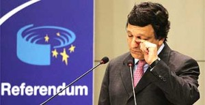 Barroso crying after he learns that the people of France & Holland do not want the EU